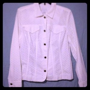 Charter club cotton eyelet jacket